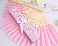 Wholesale 100pcs CM Wedding Favors Pink Paper Hand Fan with Gift Box Packing Outdoor Summer Party Decorations ZA0892
