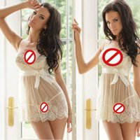 Wholesale 2016 Sexy Lace Lingerie For Women Spaghetti Straps Bow Sheer Babydoll Nightwear Underwear Lingerie G String T425