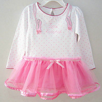 ballerina tutu pink - Infant polka baby birthday dress little ballerina dress long sleeves pink hem softer mesh fabric design