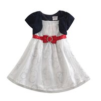 Wholesale Cute White Lace Bow Princess Chiffon Children Dress