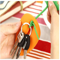 Wholesale Popular Silicone Carrot Shape Keyring Key Bag Card Pouch Holder Xmas Gifts