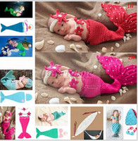 Cheap Baby Shower Crochet Mermaid Swaddles Knit Costume Wraps Newborn Blankets Baby Photography Props Diamond Headband 3PCS set Outfit A1161 10