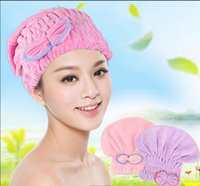 Wholesale Speed thick soft super absorbent dry hair dry hair cap comfortable bow round cap hair shower cap