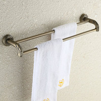 bathroom double bar towel rack - 2016 Europe America Popular brass double bars vintage towel racks for bathroom decoration