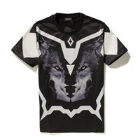 Wholesale summer style Marcelo Burlon Brand Geometry Wolf Head Mounted Men T shirt d T Shirts Camisetas Cotton tshirt Casual Tee