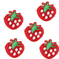 Wholesale 5pcs set Fabric Patch Sticker DIY Clothes Decor Bags Cute Strawberry Embroidery Home Sew Chart T shirt Ornament Decoration