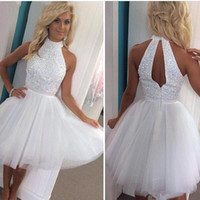 Wholesale White Sexy Tulle Short Mini Homecoming Dresses Halter Beaded Crystals Top Hollow Back A Line Short Cocktail Gowns Custom Made BA2814