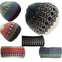 Wholesale 1 setsFall winter Fashion Womens Winter Warm Knit Hat jarquard workmenship hat and headband