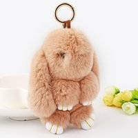 Wholesale Super Cute Bunny - New Arrival Super Cute 18cm Genuine Rabbit Fur Dull Play Dead Bunny Toy Key Chain For Girl' Handbag Charms Excellent Gift
