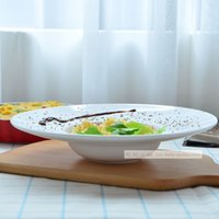 Wholesale Hat disc Western style food pasta soup Western style creative dessert restaurant tableware pure white ceramic plate deep dish