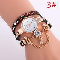 ball watch straps - big diamond ball pendant women bracelet watch fashion ladies leather dress flower printing long straps quartz watches