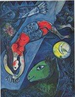 СИНИЙ ЦИРК, 1950 Марка Шагала, высококачественной натуральной масляной живописи расписанную абстрактного искусства на холсте подгонять размер