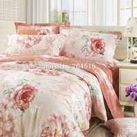 beige coverlet - gorgeous noble peonies linens flower print beige peach coverlet cotton sheets sets Queen Double size comforter set bedding sets