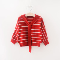 Wholesale Baby Girls Girls Sweater V Neck New Autumn Winter Warm Long Bownot Sweater Children Outwear Coat