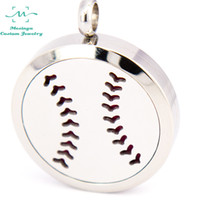 baseballs stainless steels - 10pcs mesinya baseball mm Aromatherapy Essential Oils surgical S Steel Perfume Diffuser Locket Necklace