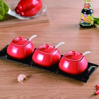 Wholesale Ceramic seasoning set stoneware square shape colour glazed salt pot pepper pot spices pot cooking tool salt shaker condiment