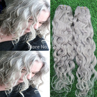 best pure water - Best Silver Grey Hair Extensions Human Grey Hair Weave Brazilian Virgin Remy Water Wave Gray Hair Extension G
