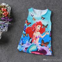 ariel clothing girls - 2016 Girl Dresses Girl Mermaid Ariel Dress Mermaid print Butterfly Print Princess Dress Baby Girls Party Dress Kids Clothes Y vestidos