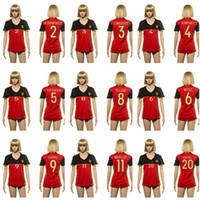 Wholesale Belgium Lukaku Women soccer football jersey thai quality Belgium home shirt Fellaini soccer football jersey