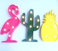 Wholesale Retro Flamingo Battery LED Light Lamp Home Garden INS Landscape Decor Creative pineapple cactus Shape String Light Lamp LJJK577
