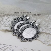 antique filigree settings - 8pcs Antique Silver Metal Filigree Oval mm Cabochon Pendant Settings Jewelry Blanks Charms Making Materials