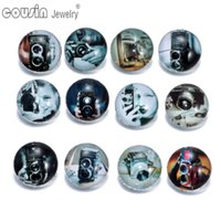 Wholesale Camera Charms Jewelry - 12pcs lot Mixed Colors Leica camera 18mm snap button Jewelry Faceted glass Snap Fit snap Bracelet Jewelry KZ0152