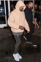 Wholesale Super good quality nice Fashion hip hop hoodies with fleece WARM winter mens kanye west hoodie sweatshirt swag solid Olive pullover Q7