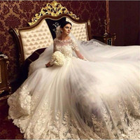 Wholesale 2016 New Lace Wedding Dresses With A Line Long Illusion Sleeve Scoop Sheer Neck Appliqued Tulle Chapel Train Bridal Gown