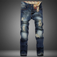 Wholesale 2016 New Arrive Famous Brand Clothing Mens Jeans Homme Fashion Ripped Jeans For Men Designer Robin Jeans Gym Men s Jean Warm