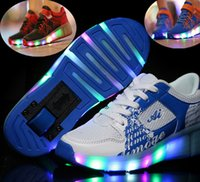 adult roller skating - Single wheel roller shoes with light emitting LED boys and girls shoes single round of automatic paragraph adult winter skate wheels