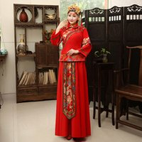 Wholesale XiuHe Suit Bride Wedding Dress Red Chinese Vintage Toast Clothig Cheongsam Long Sleeve Suit for pregnant woman Chinese Traditional Dress