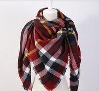 Wholesale Za Winter luxury Brand Plaid Cashmere Scarf Women Oversized Blanket Scarf Wrap long Wool Scarf Women Pashmina Shawls and Scarves HJIA780