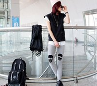 Wholesale Autumn and winter with velvet Leggings female personality simple skull knee cotton Leggings nine pants pants