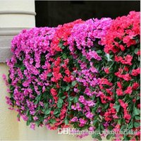 african wall hangings - 85cm Lifelike Violet Orchid Ivy Artificial Flower Hanging Plant Silk Garland Vine Colors African Violet Wedding Party Decorations
