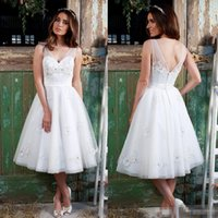 amanda gray - White Lace Bridesmaid Dresses Amanda Wyatt Tea Length Backless Applique Beaded Sequins V Neck Tulle Plus Sizes