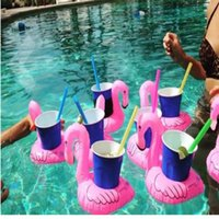 bathing toy - 12Pcs hot Mini Cute fanny toys Red Flamingo Floating Inflatable Drink Can Holder Swimming Pool Bathing Beach Party Kids Bath Toy