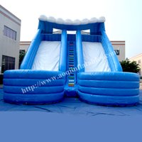 Wholesale AOQI Popular pvc tarpaulin double commercial outdoor slide adult and kid inflatable pool water slide big water slide for promotion
