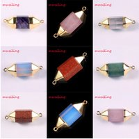 angle prism - Gold Plated Jewelry Natural Gem Stone Pendulum Pendant Six Angle double connector Hexagon Prism Reiki Charms Chakra Amulet DIY Jewelry