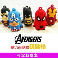 america flag photos - Revenge of the League of Superman spider man Batman Captain America D stereo silicone key pendant