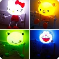 animal sensors - 2016 July new hello kitty night light sensor led wall lamp EU US plug wedding decoration children kids baby toy Doraemon panda Minions