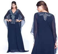 Cheap Navy Blue Arabic Mother Of Bride Dresses Chiffon Plus Size V Neck Beads Applique Long Sleeves Women Prom Party Gowns Formal Dresses