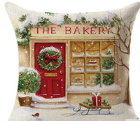 Wholesale High Quality x cm The Bakery Christmas Linen Square Throw Flax Pillow Case Decorative Cushion Pillow Cover Happy Xmas Gift