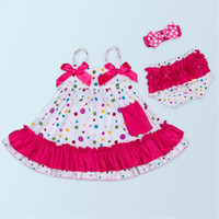 baby swing pink - Baby Girls Clothing Sets Swing Dress Summer Girls Cotton Clothing Sets O neck Style Ruffle Bloomer Headband