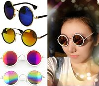 al por mayor x gafas de sol de metal-1 x clásico de la manera del estilo retro de la vendimia clásica redonda de metal Marcos de gafas de sol caliente de 14 colores