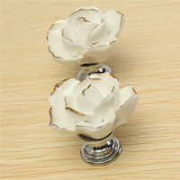 Wholesale 1pc Low Peice Elegant Style White Vintage Rose Flower Bud Gold Lace Ceramic Door Cabinet Cupboard Drawer Knob Pull Handle