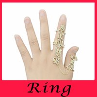 armor stone - 2016 Newest Gothic Punk Rock Rhinestone Cross Knuckle Joint Armor Long Full Finger Ring Gift for women girl jewelry set gemstone ring