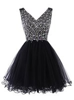 Wholesale Short Prom Dresses Sexy Deep V Neck Backless Prom Gown Petal Power Crystal Sequins Formal Celebrity Dress Homecoming Dresses