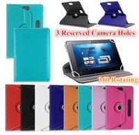 acer tablet camera - Universal Rotating Adjustable Flip PU Leather Stand Case With Reserved Camera Hole For inch Tablet PC Samsung Amazon Kindle ASUS ACER