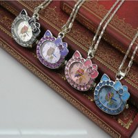 Wholesale Fashion Beautiful Cute Hello Kitty Cat KT Women s Girl s crystal Necklace watch Bowknot Style