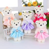 beaded cloth - 13cm Sweet Valentine s Gift Rhinestone Beaded Bears With Dress Girlfriend Bithday Gifts Wedding Furnishing Plush Toys Stuffed Animals E1877